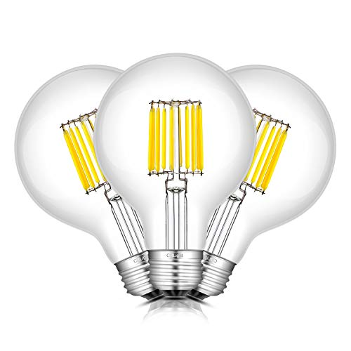 CRLight 10W Edison LED Globe Bulb 100W Equivalent Daylight White 5000K 1000LM, - Average Of Height Bathroom Mirrors