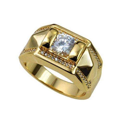 Balakie Men Women Betrothal Engagement Band Jewelery Couple Geometric Type Diamond Ring (Gold, Men # ()