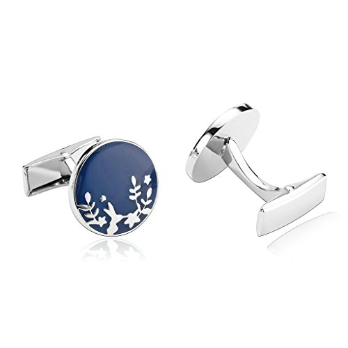 Bishilin Stainless Steel Cufflink Men | Women Silver Blue Wicker Tuxedo Shirts Round Cuff Links Wedding Business (Wicker Bar Nyc)
