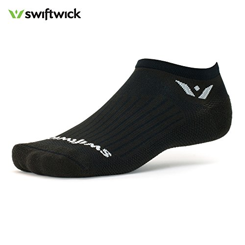 Swiftwick ASPIRE ZERO, No-Show Socks for Running, Black, Large