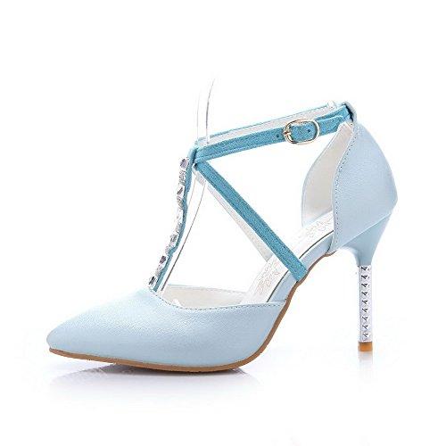 Amoonyfashion Femmes Talons Hauts Pointu Bout Fermé Matériau Souple Pompes-chaussures Bleu