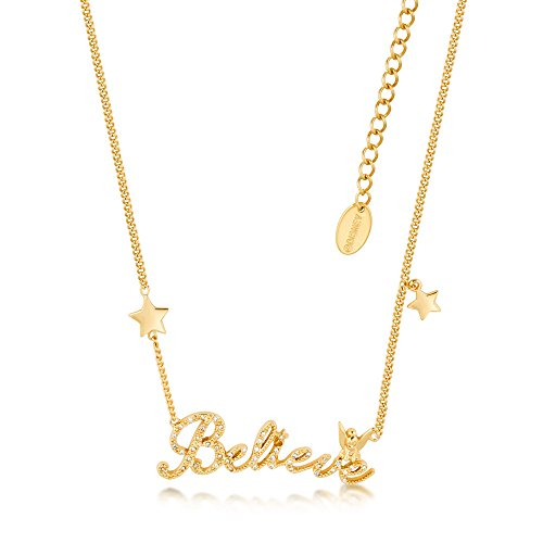- Disney Couture Tinker Bell Believe Stars Necklace - Yellow Gold Plated
