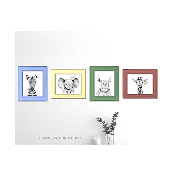 Confetti Fox Zoo Animals Safari Baby Nursery Wall Art Decor – 8×10 Unframed Set of 4 Prints – Zebra Elephant Giraffe Rhino – Gender Neutral Boy Girl Jungle Artwork Pictures