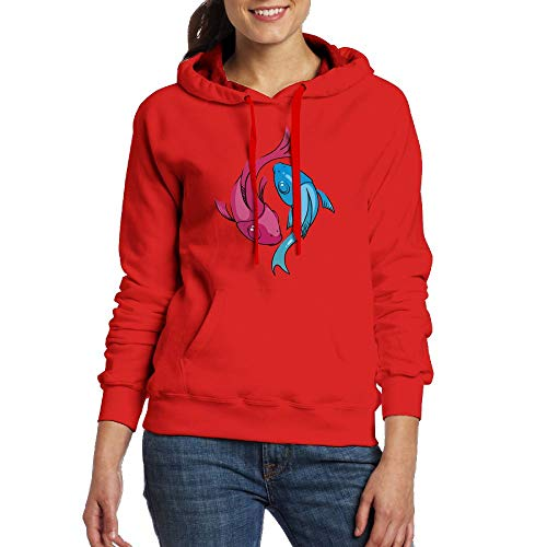 Chqeilng Oii Blue Red Pisces Print Long Sleeve Hooded Pockets Sweater for Ladies