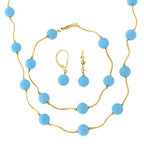 - 14k Yellow Gold Diamond Cut 8mm Simulated Turquoise Station Necklace, Earrings and Bracelet Set