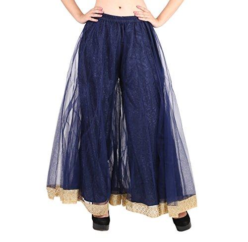 Shararat Women's Palazzo Pants Net Loose Flared High Waist Sharara Trouser by Shararat
