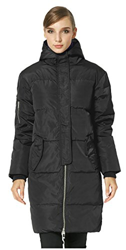 Orolay Womens Thicken Plus Size Down Jacket Hooded Coat Black Xl