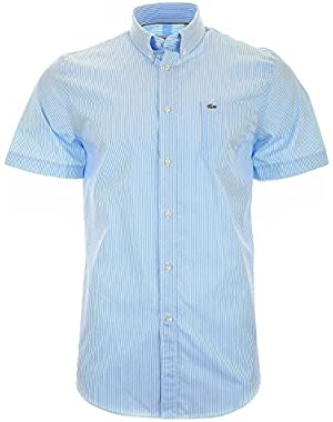 Lacoste Men's Men's Blue Short Sleeve Shirt With Stripes in Size XL Light Blue