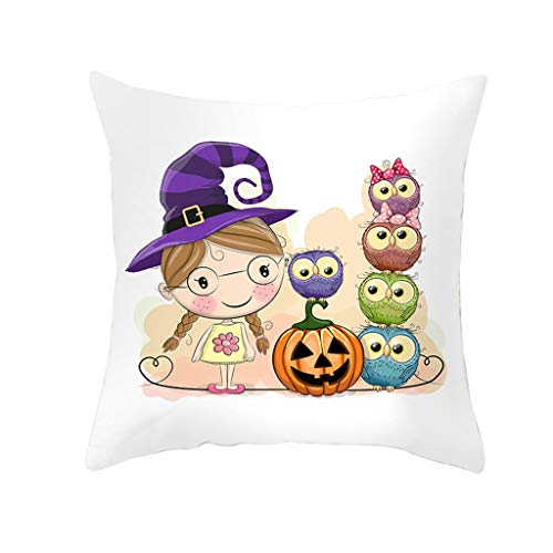 Jocome Throw Pillow Case,Halloween Owl Series Pillow Case Nordic Sofa Cushion Waist Pillow Case Halloween Cushions for Sofa Home Decorative Pillowslip Gift Ideas Household -