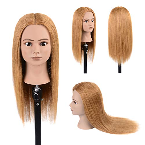 - 100% Real Human Hair Mannequin Head With Stand Cosmetology Training Mannequin Head Hairstyles Practice Dolls Light Blonde 20
