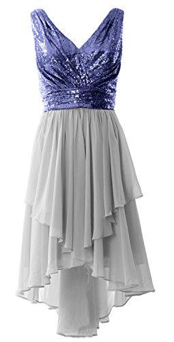 MACloth Chiffon Low Straps Navy Neck Silver Dark Formal Dress Prom Sequin High Gown Party V Women r1wqXr