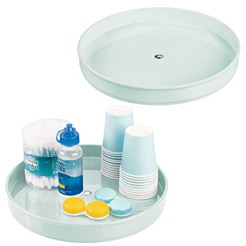 mDesign Spinning Lazy Susan Turntable Storage - Rotating Organizer for Makeup, Cosmetics, Nail Polish, Vitamins, Shaving Kits, Hair Spray, Medical Supplies, First Aid - 9