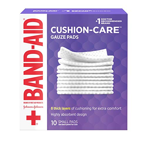 Band-Aid Brand Cushion Care Non-Stick Gauze Pads, Individually-Wrapped, Small, 2 in x 2 in, 10 ct