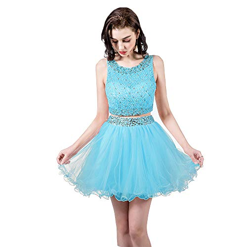 e1030005fe3 TANGFUTI Two Piece Homecoming Dresses Short Beaded Tulle Formal Prom Gowns  010 Sky Blue US6