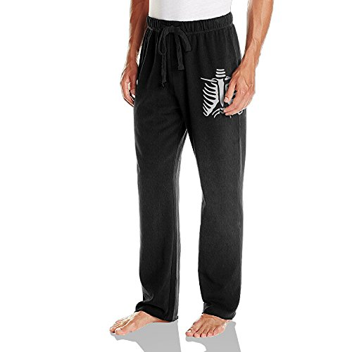 Vinda Men's Running Pants Halloween Skeleton Black Size -