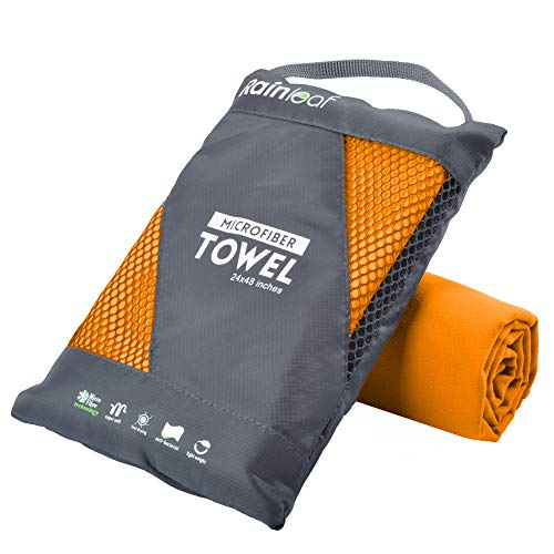 - Rainleaf Microfiber Towel, 16 X 32 Inches. Orange.