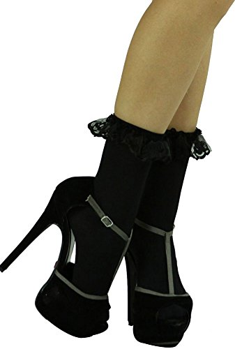 ToBeInStyle Women's Opaque Ankle High Socks With Ruffled Lace Top - - Lace Top Opaque