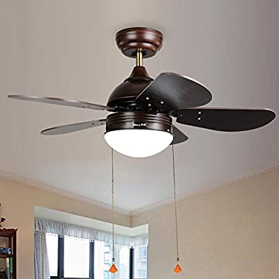 AorakiLights Brown Ceiling Fan Light Led Antique Modern Simple Chandelier Fan Five Wooden Fan Blades Acrylic Lampshade Reverse Function Variable Speed Wind White Light Remote Control