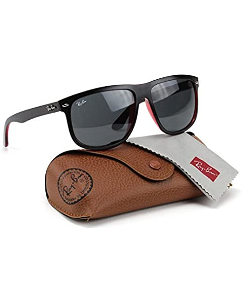ca49a69125d Ray-Ban RB4147 617187 Sunglasses Matte Black On Transparent Red Dark Grey  Lens 60mm