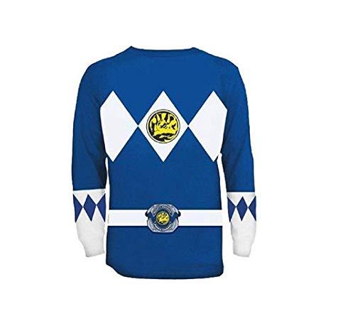 Power Rangers Long Sleeve Ranger Costume Blue T-shirt (Adult -