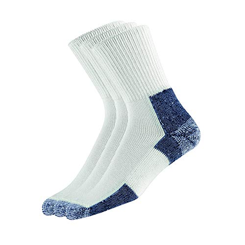Thorlos Unisex XJ Running Thick Padded Crew  Sock, White (3 Pack), Large