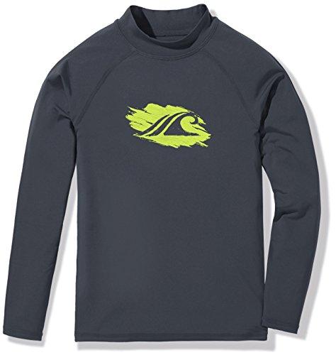 TSLA Boys UPF 50+ Long Sleeve Rashguard Youth Surf Kids Swim Top, Boy Long Sleeve(bsr10) - Charcoal, Small (10) ()