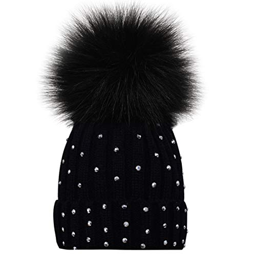 (Kids Winter Knitted Hats, Toddlers Baby Boys Girls Beanie Hat with Shiny Diamonds, Faux Fur Pom Pom Cap for Kids Black)