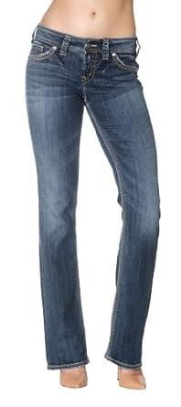 Amazon.com: Silver Jeans Suki 17 Women Bootcut Jeans Flap Pocket ...
