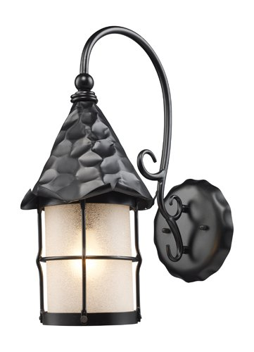 Landmark 385-BK Rustica Wall Sconce, 19-Inch H; 10-Inch W; 14-Inch Ext, Matte Black Antique White Scavo Cylinder