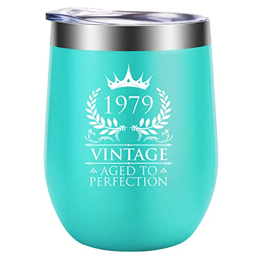 (1979 40th Birthday Gifts for Women | Vintage Aged to Perfection Wine Tumbler | Anniversary Gift for Her, Wife, Mom | GSPY 12oz Stainless Steel Insulated Cup with Lid and Straw)