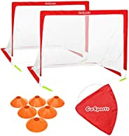 GoSports Pop Up Soccer Goals for Backyard - Set of 2 Nets with Agility Training Cones and Carrying Case (Choic