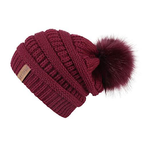 Chunky Fleece Beanie - QUEENFUR Women Knit Slouchy Beanie Chunky Baggy Hat with Faux Fur Pompom Winter Soft Warm Ski Cap (Burgundy)