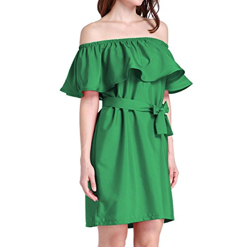 Ruffle Off Green Dress Shift Cekaso Sleeve Mini Women's Shoulder Tunic Belt Dress With qIwq5TZg