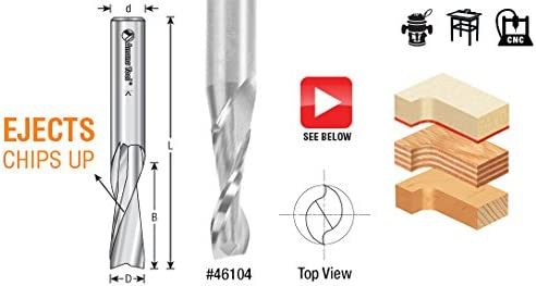 Amana Tool 46102 Solid Carbide Spiral Plunge 1//4 Dia x 3//4 x 1//4 Shank Up-Cut