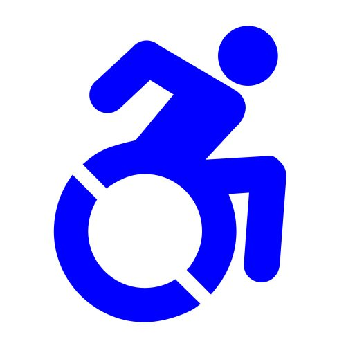 Handicap Decal - New Accessible Icon For Wheelchair Lift Disability Mobility Van Or Bus - In Blue 6x4.75