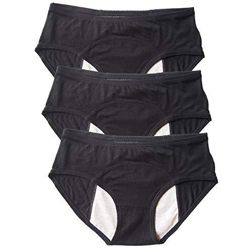 Modal Menstrual Underwear Period Leak Proof Panties for Girls Heavy Flow, Women Postpartum Bleeding 3 Pack (Black, M(100-125lbs)