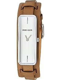 Women's AK/2745SVTN Silver-Tone and Tan Leather Strap Watch