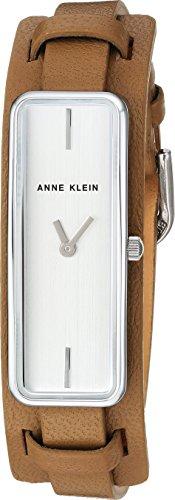 Anne Klein Women's AK/2745SVTN Silver-Tone and Tan Leather Strap Watch