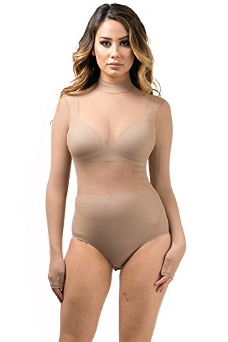 Women's Sheer Mesh Sexy Mockneck One Piece Long Sleeve Bodysuit Nude Large