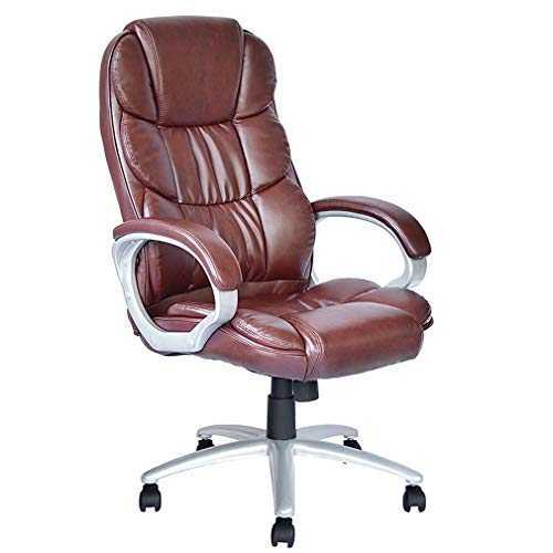 Office Chair Desk Ergonomic Swivel Executive Adjustable Task Computer High Back Chair with Back Support (Brown)