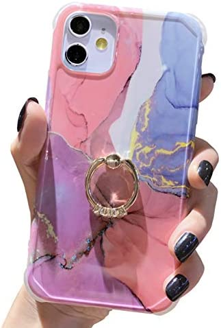 Marble iPhone 11 Case, Anynve Compatible with iPhone 11 Case Reinforced Raised Corners [Soft TPU Bumper & Shockproof Hard Back] with 360 Degree Rotary Ring Kickstand Holder Case [6.1 inch] -Gold Pink