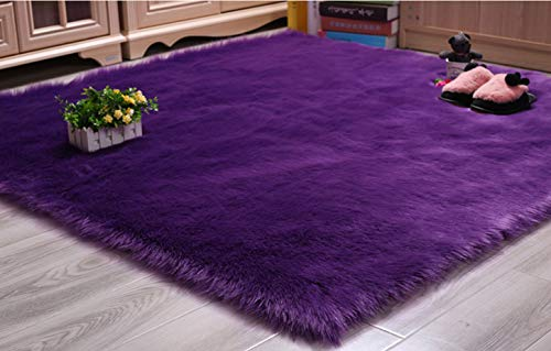 Deluxe Super Soft Faux Sheepskin Chair Cover Seat Pad Square Fur Shaggy Area Rugs for Bedroom Sofa Floor Purple,2ftx2ft