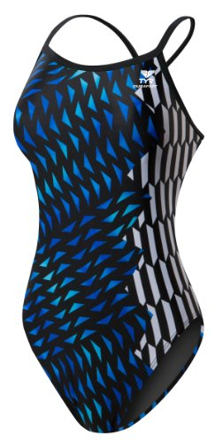 Cobra One Piece - TYR SPORT Women's Cobra Kai Diamondfit Swimsuit (Blue, Size 26)