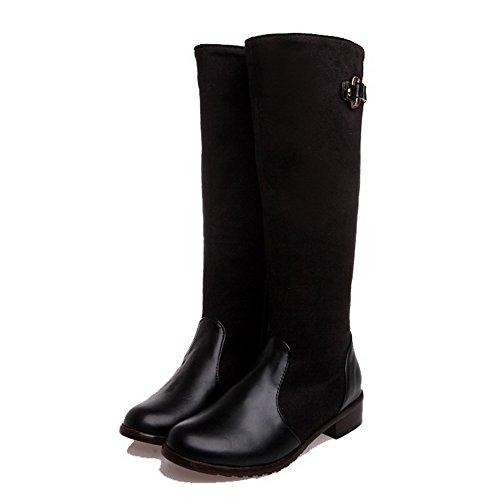 Soft Cane Toe ad Agoolar solido alto Round Stivali Heel Women Mini Materiale neri SO0qY