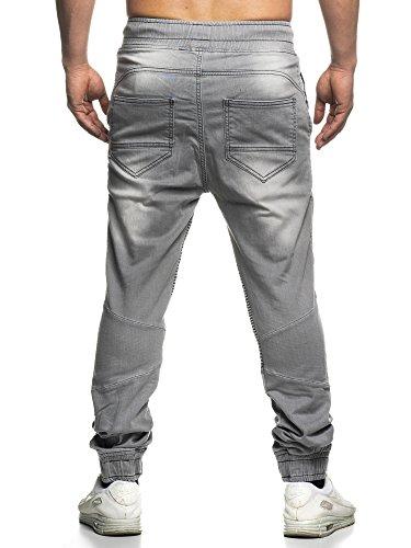 Tazzio 16505 Biker Jeans pour homme style jogging- Gris