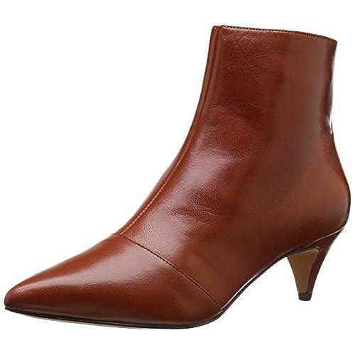Nine West Women's Clareece Leather Boot, Dark Natural/Dark Brown, 6.5 M US