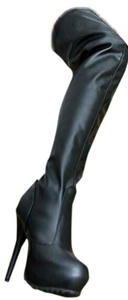 Erogance Kunstleder Plateau High Heels Overknee Stiefel schwarz EU 36-46 A4123