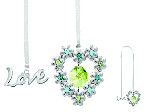 Chrome Plated Blooming Love/heart Bookmark with Green Swarovski Element Crystals