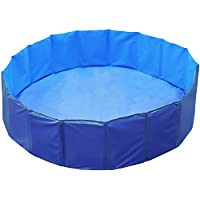 GPCT [48 INCH Foldable/Portable [Collapsible] Large Dog Pet Bathing Swimming Pool. Durable, Heavy Duty, Bathing Bath Tub Wash Pond Water Washer for Toddlers, Dogs, Cats, Pets [Blue]