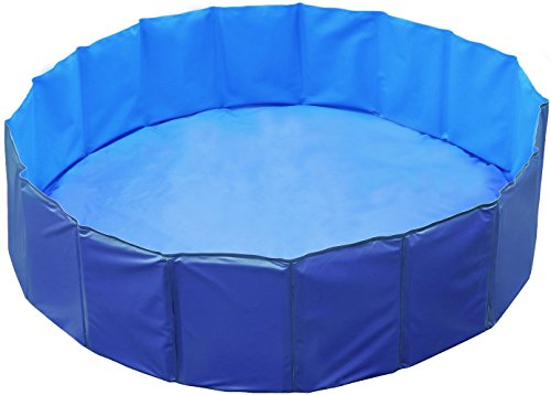 Large Swimming Pool (GPCT [63 INCH] Foldable/Portable [Collapsible] Large Dog Pet Bathing Swimming Pool. Durable, Heavy Duty, Bathing Bath Tub Wash Pond Water Washer For Toddlers, Dogs, Cats, Pets [BLUE])